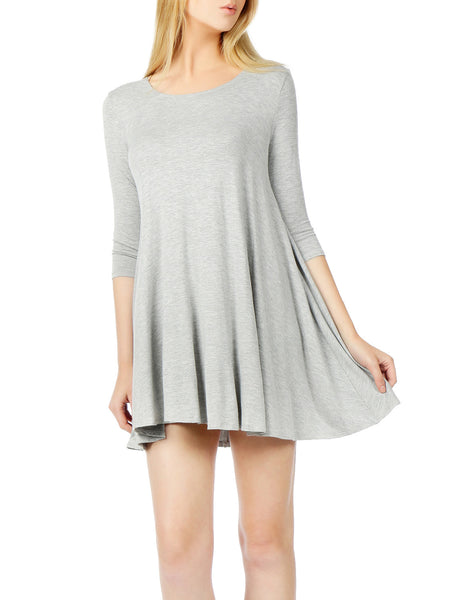 LE3NO Womens Classic Scoop Neck 3/4 Sleeve Tunic Dress