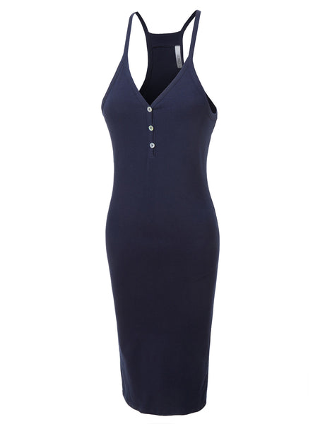 Fitted Racerback Sleeveless Cotton Henley Midi Dress with Stretch