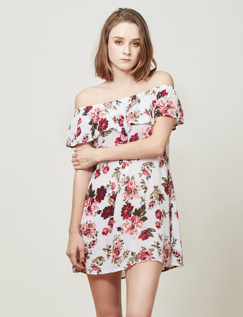 LE3NO Womens Flowy Floral Print Ruffle Off Shoulder Dress (CLEARANCE)