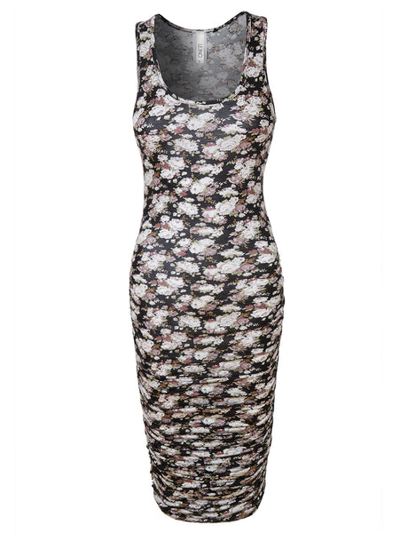 LE3NO Womens Floral Print Sleeveless Side Shirring Fitted Maxi Dress (CLEARANCE)