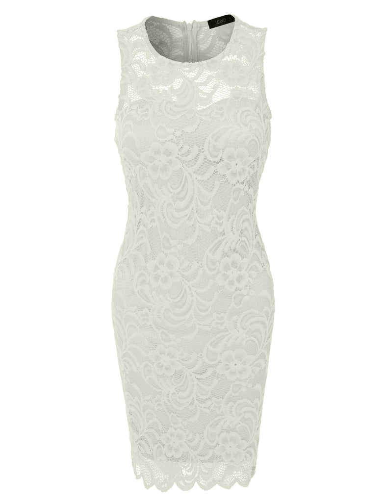 db2a42d86ef LE3NO Womens Fitted Floral Lace Scalloped Sleeveless Bodycon Midi Dress