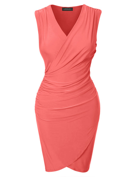 LE3NO Womens Fitted V Neck Wrap Sleeveless Bodycon Midi Dress with Side Shirring (CLEARANCE)