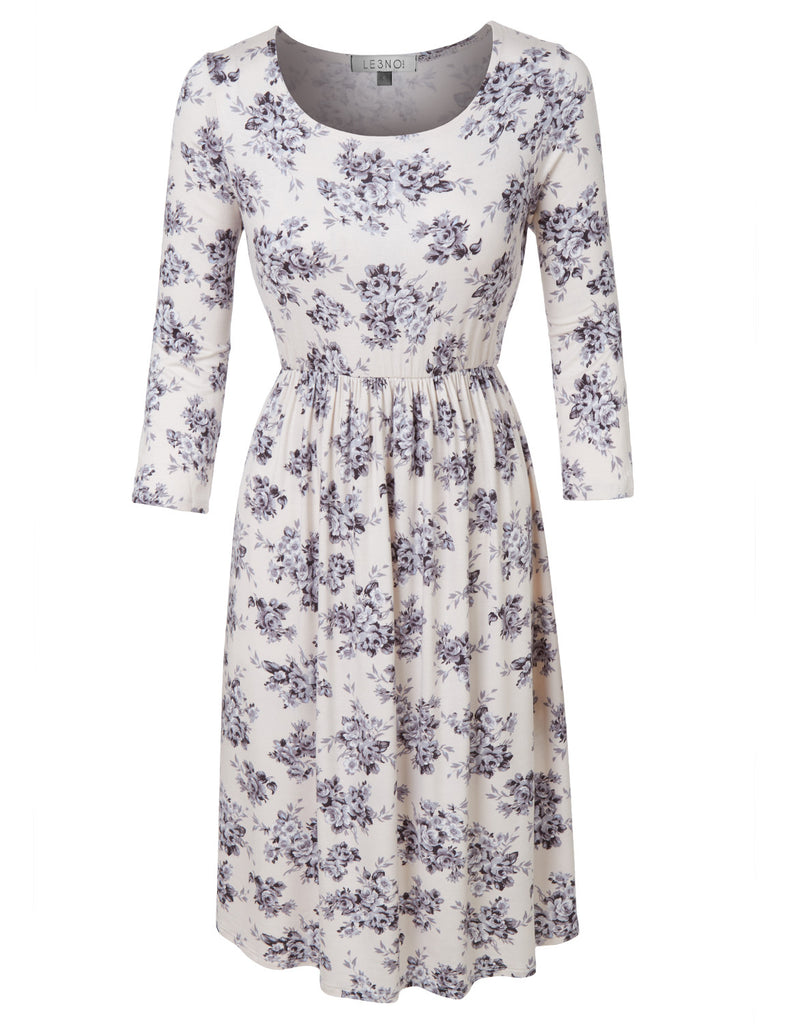 e66b1974099 LE3NO Womens Casual Flared 3 4 Sleeve Floral Print Midi Dress · IVORY ...