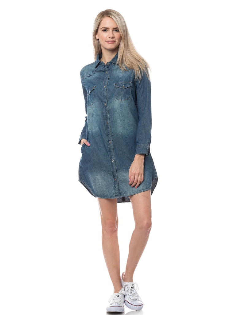 9a78c3b6dc5 LE3NO Womens Classic Long Sleeve Chambray Denim Shirt Dress with Pockets · DARK  DARK DARK ...