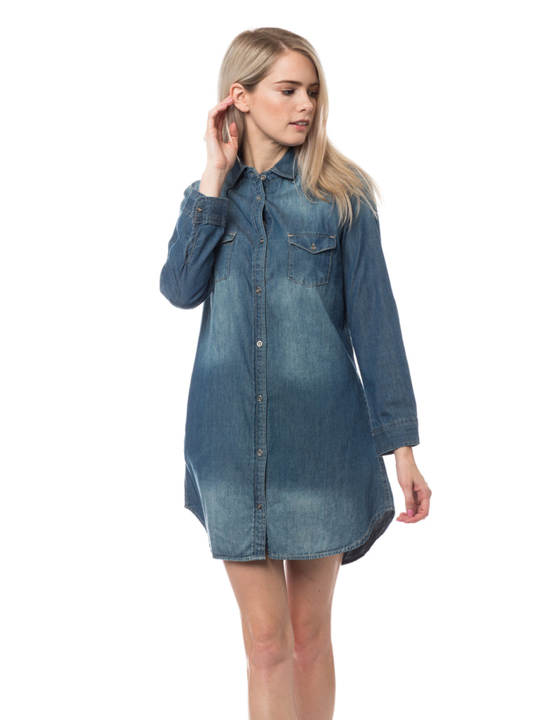 86b31776741 LE3NO Womens Classic Long Sleeve Chambray Denim Shirt Dress with Pockets · DARK  DARK DARK DARK ...