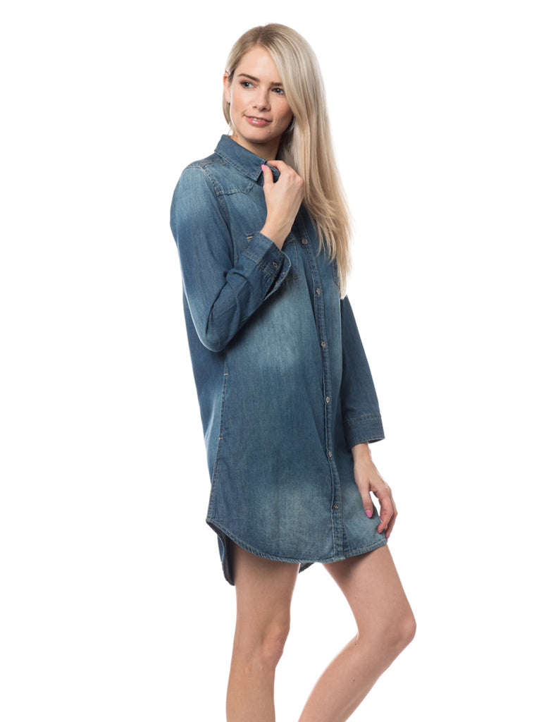 02177bb34de LE3NO Womens Classic Long Sleeve Chambray Denim Shirt Dress with Pockets · DARK  DARK DARK DARK DARK ...