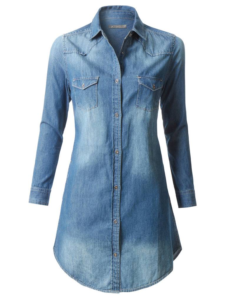 5846fbf0af LE3NO Womens Classic Long Sleeve Chambray Denim Shirt Dress with Pockets ·  DARK ...