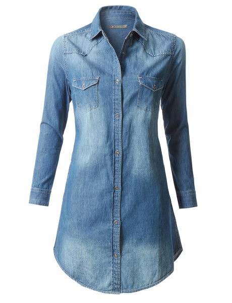 Classic Long Sleeve Chambray Denim Shirt Dress with Pockets (CLEARANCE)