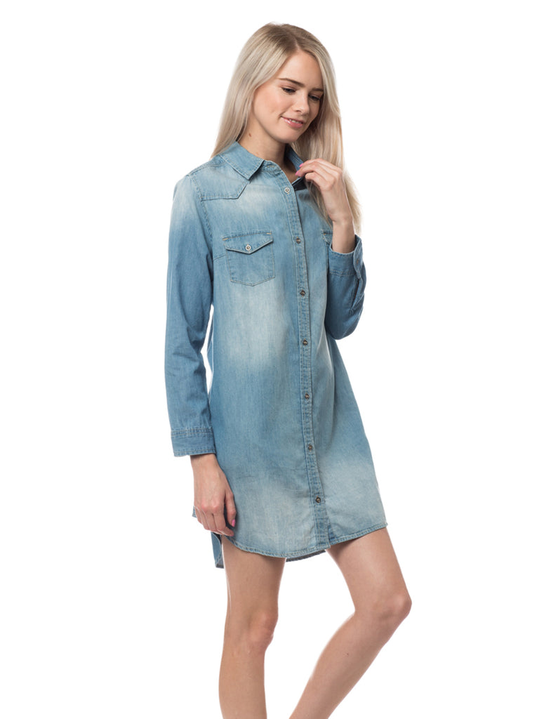 345c8590143 LE3NO Womens Classic Long Sleeve Chambray Denim Shirt Dress with Pockets