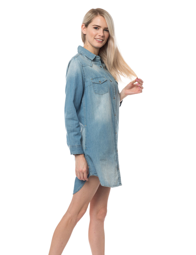 Le3no womens chambray button down long sleeve shirt dress for Chambray long sleeve shirt