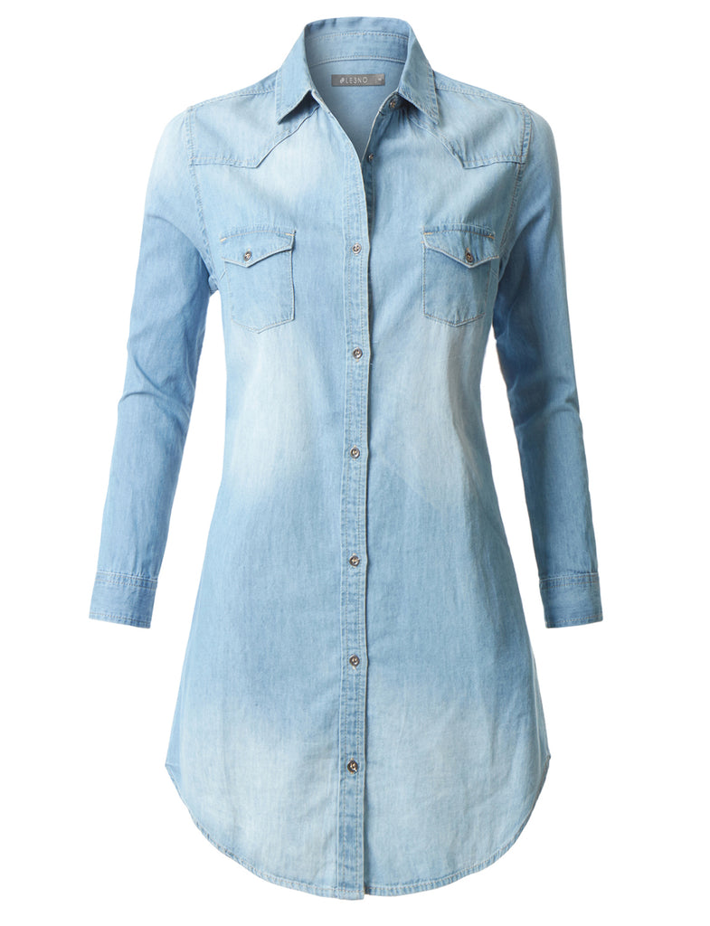 Le3no Womens Classic Long Sleeve Chambray Denim Shirt Dress With