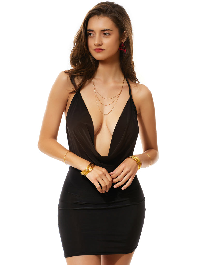 7205ea628d LE3NO Womens Sexy Bodycon Deep V Neck Backless Halter Mini Party Club Dress