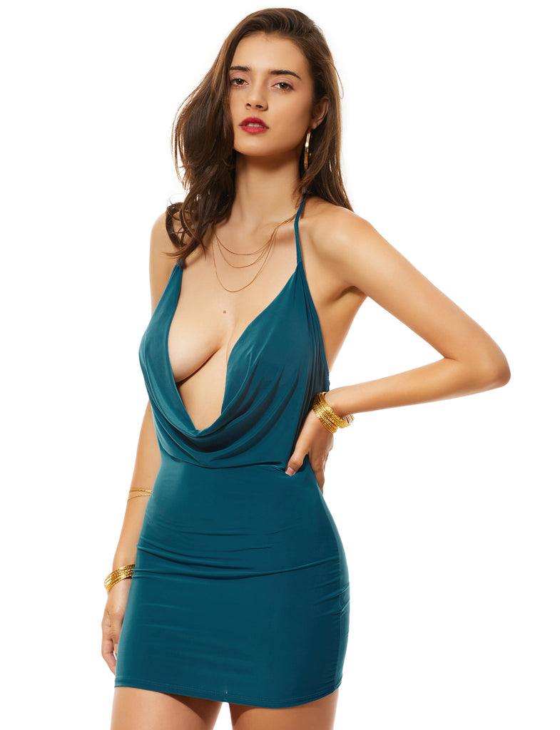 Backless Hollow Out Patchwork Halter Deep V-Neck Bodycon