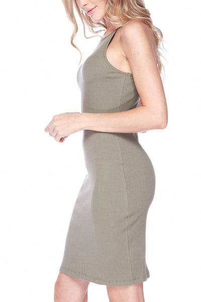 Stretchy Ribbed High Neck Sleeveless Bodycon Mini Dress