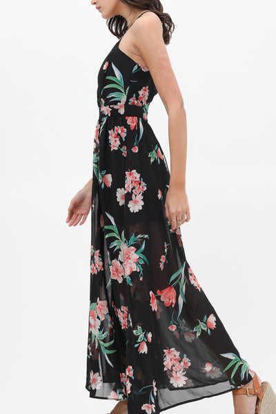 All Over Floral Print V Neck Sleeveless Maxi Dress