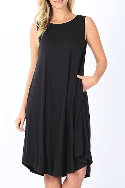 Casual Loose Fit Round Neck Sleeveless Knee Length Dress