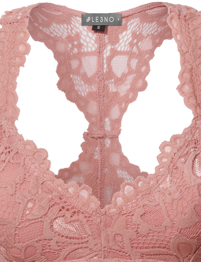 9959490d818a3 LE3NO Womens Stretchy Sexy Floral Lace Wire Free Racerback Bralette Bra Top