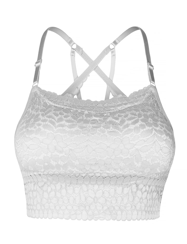 34b80c22bb LE3NO Womens Sexy Floral Lace Bralette Top With Adjustable Straps and Removable  Pads