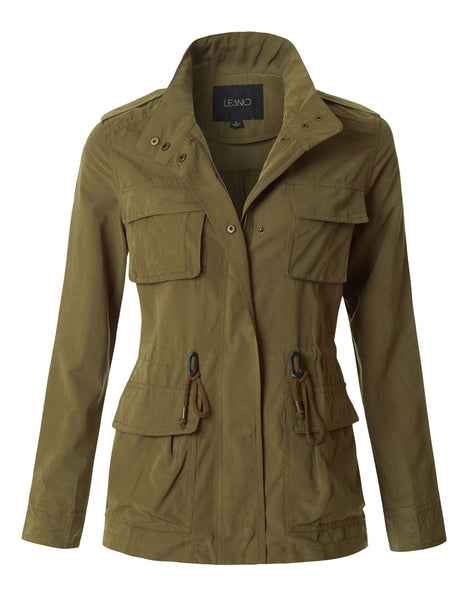Lightweight Stand Collar Utility Safari Military Jacket