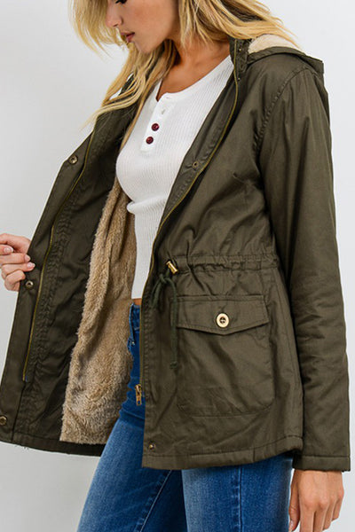 Faux Fur Anorak Military Jacket with Pockets