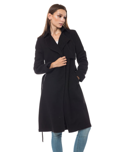 Fully Lined Belted Long Winter Fleece Coat with Pockets