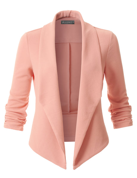 Textured Ruched 3/4 Sleeve Open Front Tuxedo Blazer Jacket