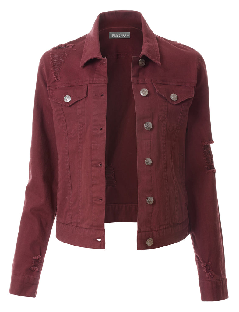 LE3NO Womens Distressed Long Sleeve Cropped Denim Jacket ...