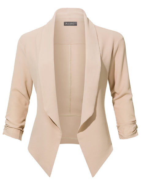 Casual Office Open Front Ruched 3/4 Sleeve Cardigan Blazer Jacket