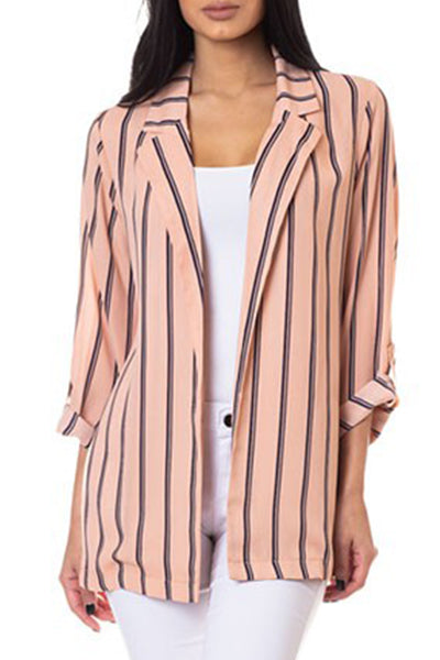 Lightweight Open Front Roll Up Long Sleeve Striped Oversized Blazer