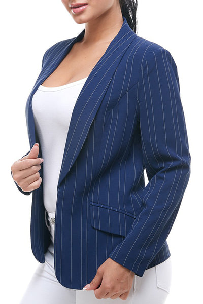 Fully Lined Open Front Striped Blazer Jacket