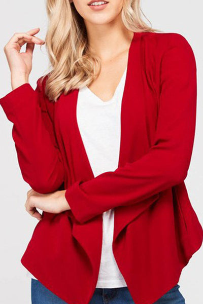 Lightweight Open Front Long Sleeve Drape Blazer Jacket