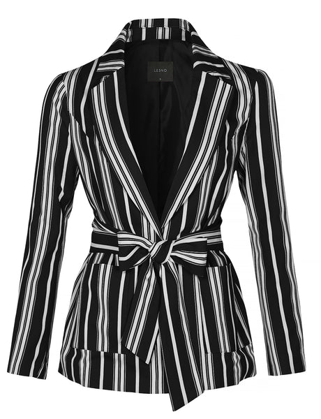 LE3NO Womens Casual Striped Open Front Long Sleeve Blazer Jacket With Self Waist Tie