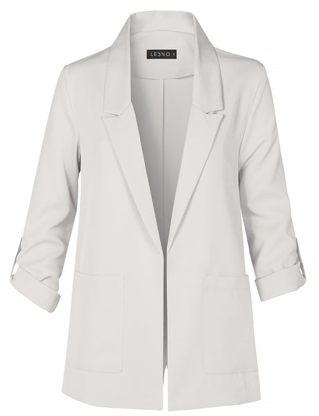 Casual Open Front Collared Blazer Jacket with Roll Up Sleeves And Pockets