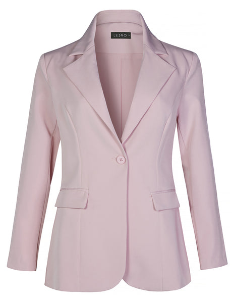 Work Office Long Sleeve Single Button Blazer Jacket With Pockets