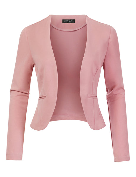 Stretchy Long Sleeve Open Front Cropped Blazer