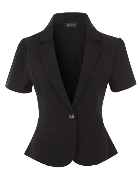 Single Button Stretchy Short Sleeve Collared Blazer Jacket