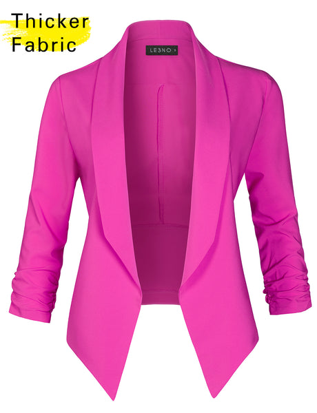 Open Front Cinched 3/4 Sleeve Solid Blazer Jacket