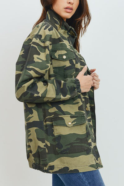 Long Camo Military Anorak Jacket with Pockets