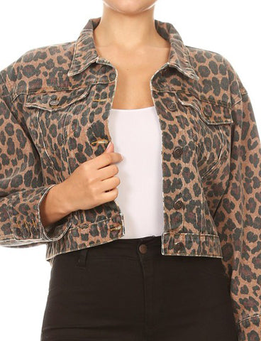 Leopard Print Cropped Denim Jean Jacket