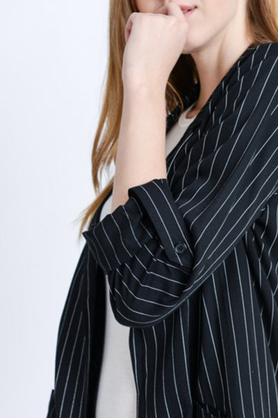 Striped Open Front Long Line Blazer Jacket with Roll Up Sleeves