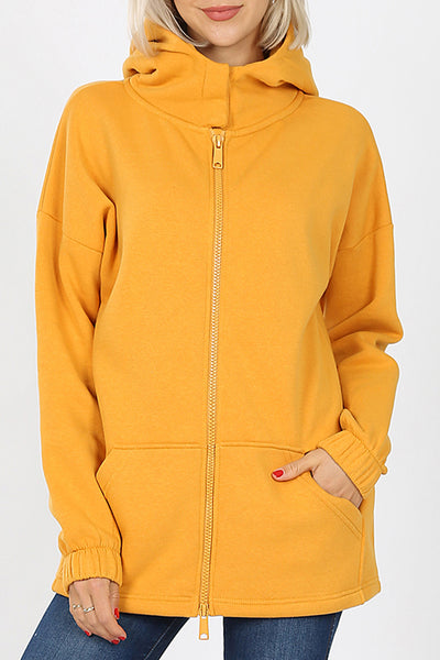 Soft Fleece High Collar 2 Way Zipper Hooded Sweat Jacket