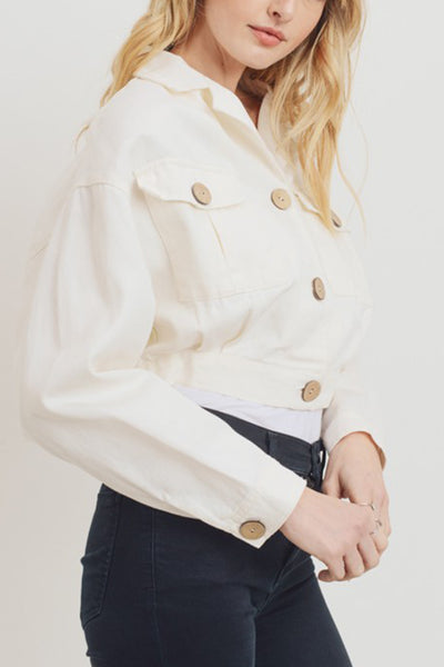 Relaxed Fit Coconut Button Down Cropped Twill Jacket
