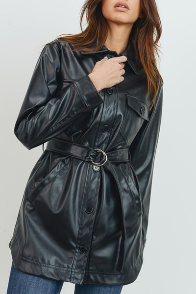 Long Sleeve Button Down Faux PU Leather Belted Long Jacket