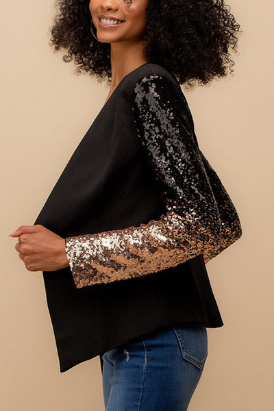 Classic Collarless Open Front Sequin Sleeve Blazer Jacket