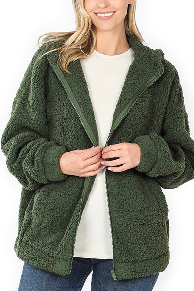 Cozy Full Zip Up Soft  Sherpa Hoodie Jacket with Pockets