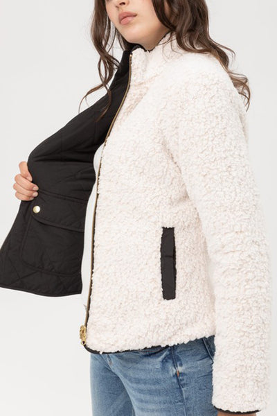 Reversible Quilted Sherpa Lined Long Sleeve Zip Up Jacket with Pockets