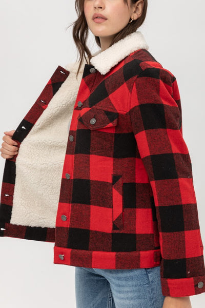 Long Sleeve Faux Fur Sherpa Lined Plaid Trucker Jacket with Pockets