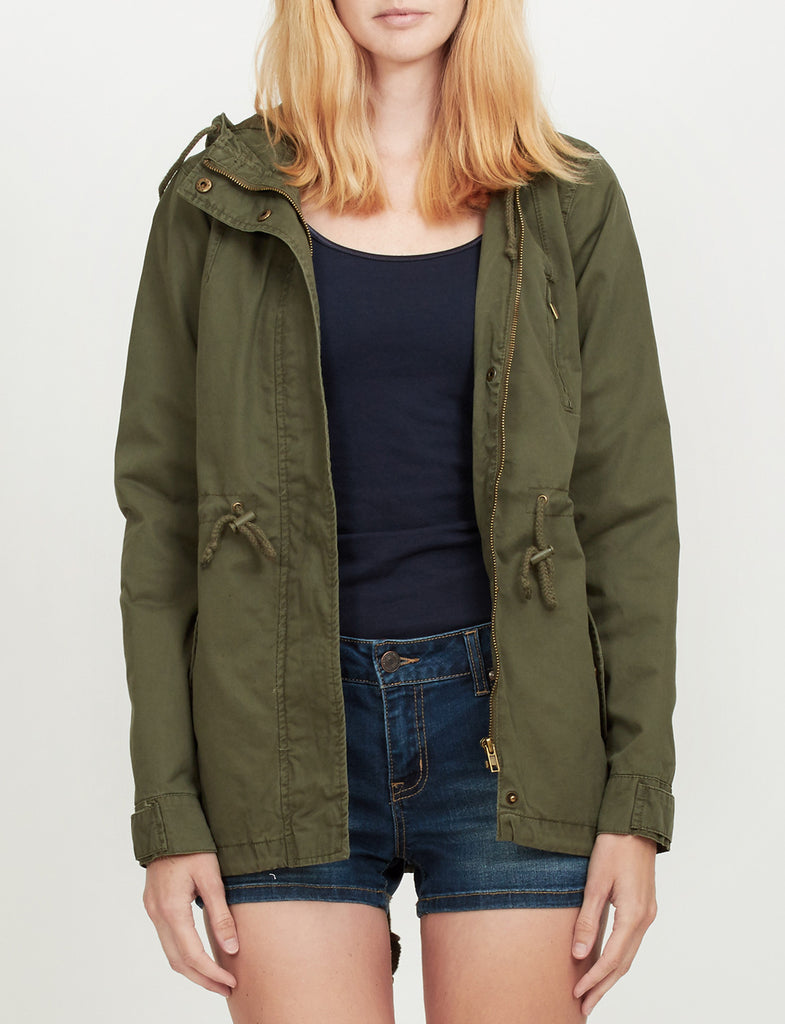 LE3NO Womens Anorak Jacket with Hood and Drawstring Waist. OLIVEGREEN ... - LE3NO Womens Anorak Jacket With Hood And Drawstring Waist LE3NO