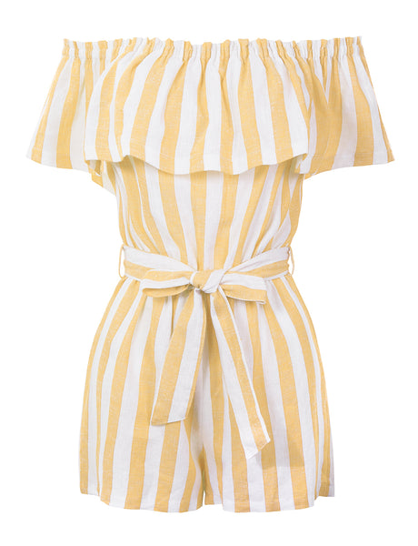 Summer Linen Striped Off Shoulder Flounce Ruffle Belted Romper Jumpsuit