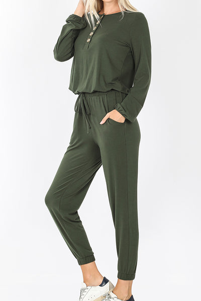 Long Sleeve Ankle Length Jogger Jumpsuit with Pockets